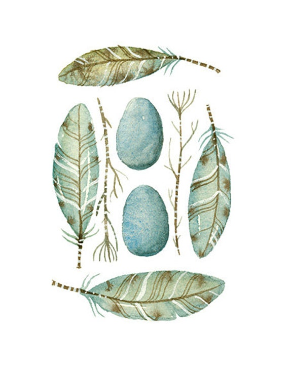 Watercolor ACEO Composition with Eggs and Feathers - Collection No.36 - Art Prints by Lorisworld