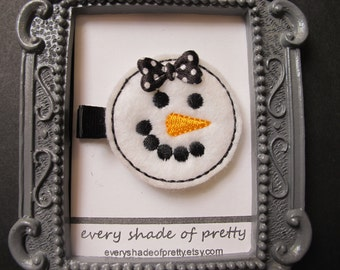 Snowman Face with  Black  Polka Dot Bow Hair Clip--Christmas--Winter--Girls Hairclip--Toddler Clip
