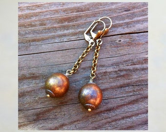 Cannon Ball Pirate Earrings - Antique Brass looking Czech Glass beads on a brass chain - Pirate Jewelry - Halloween Earrings - Ball & Chain