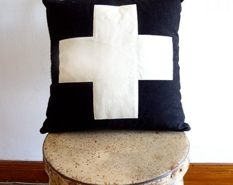 "Handmade Swiss Cross Pillow 16"" Square"