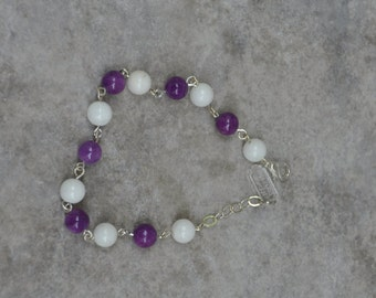 Bracelet, Wire Wrapped, wire wrap, wire bracelet, handmade bracelet, handmade jewelry, gift for her, White, Purple, Glass Beads , ooak, gift