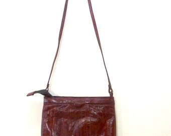 Vintage Red Eel Skin Purse / Small Red Purse / Cross Body Bag / Small Handbag / Clutch Purse / Night Bag