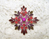 Enamel Brooch Signed LC Vintage Liz Claiborne Jewelry Snowflake Designer Autumn Fall Red Purple Burgundy