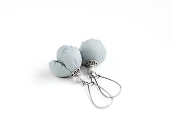 Modern style leather earrings in light grey