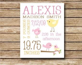 Custom Birth Print - Pink and Yellow Birds - 8 x 10 Digital Print - Nursery Print - Baby Shower - Custom Birth Record