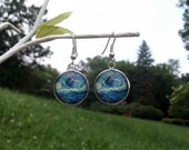 "Doctor Who van Gogh Starry Night TARDIS earrings 3/4"" 19mm silver copper bronze wedding"