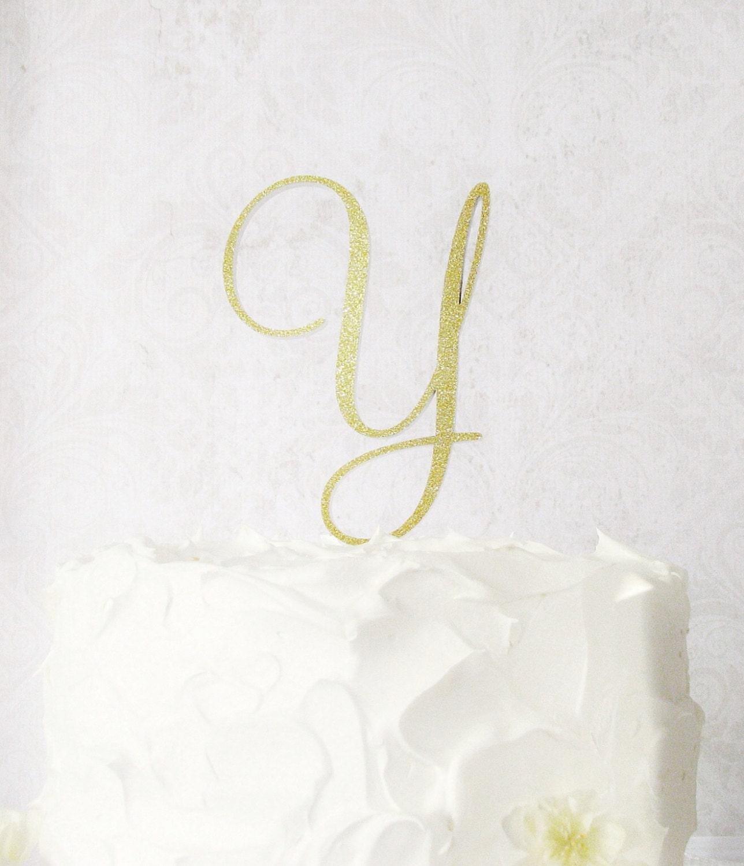 5 Gold Cake Topper Monogram Wedding Cake Topper