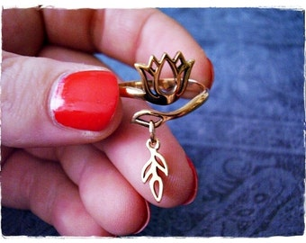 Gold Lotus Flower Ring - Solid Bronze Lotus Ring with Bronze Leaf Sprout Dangle