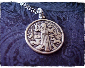 Round Saint Francis of Assisi Necklace - Sterling Silver Saint Francis of Assisi Charm on a Sterling Silver Cable Chain or Charm Only