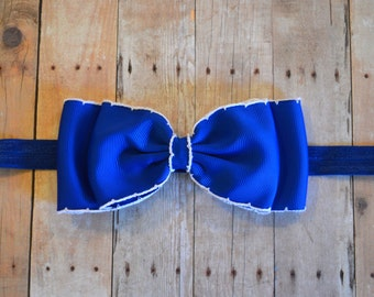 Blue Bow Headband/ Blue & White Bow Headband/ Blue Baby Headband/ Baby Hair Accessories/ baby headbands and bows/ newborn headband/ royals