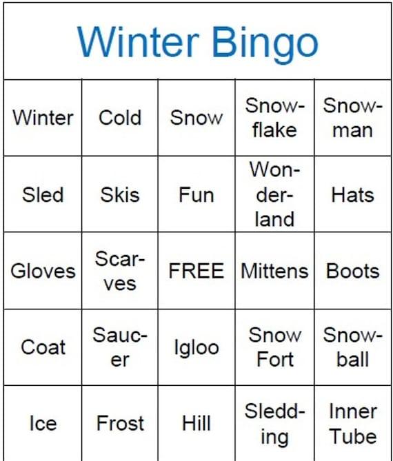 Nerdy image pertaining to winter bingo cards free printable