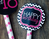 Sweet Sixteen Chevron Party PRINTABLE Birthday Circles by Love The Day
