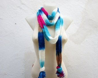 Infinity Cowl, Handmade scarf, Hand Knit Cowl, infinity scarf, circle scarf, Blue, Pink, Cream,  Hand Knit Scarf  women scarf mothers day