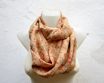 Women scarf, infinity Scarves, Loop Fabric Necklace, Circle Floral Accessories, Floral Tube Neckwarmer, Orange, Green, Brown, Autumn, Fall