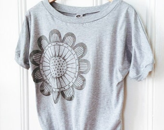 SALE - Sparkly Sunflower on Heather Gray Dolman Sleeve TShirt