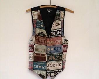 Novelty Tapestry Vest | Vintage Western Southwestern License Plates | Men Women Medium Large
