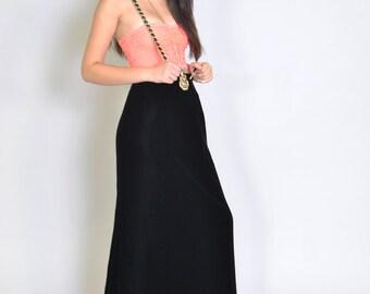 Vintage Black Velvet Maxi Skirt 80s Victor Costa Designer Black Velvet Long Skirt S Festival Coachella
