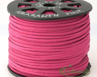 Faux suede cord 3mm wide - amaranth pink - 3 meters