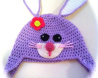 Hoppy Bunny Hat, Spring Beanie, Easter Hat, Size 2T 4T Ready to Ship