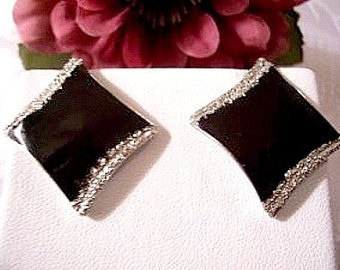 Black Sparkle Pierced Earrings Silver Tone Vintage Glitter Edge Diamond Shape