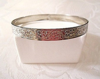 Flower Imprinted Script Bracelet Sterling Silver Bangle Vintage Wide Band Embossed Flowers Scrolls