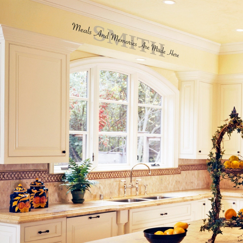 Kitchen Wall Vinyl: Kitchen Vinyl Wall Decal Meals And Memories Are Made Here