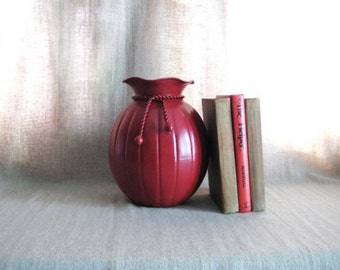 Summer Sale Upcycled  Vase in French Country Red / Painted Brass Vase