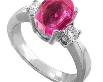 18k white gold ring  pink sapphire diamonds