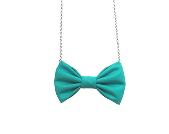 Jungle Green Bow Tie Necklace, Casual Women Bowtie