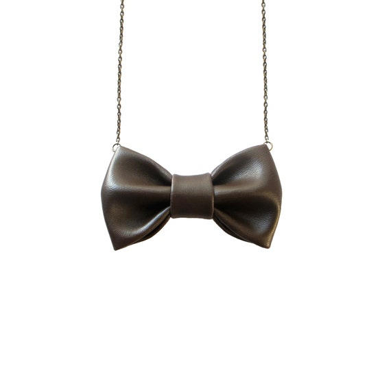 Brown Leather Bow Tie Necklace, Casual Funky Bowtie