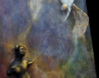 COMMISSION: Against The Forbidden. Wall Sculpture, by Fae Factory Spiritual Artist, Dr Franky Dolan (clay relief & painting art) {SEE VIDEO}
