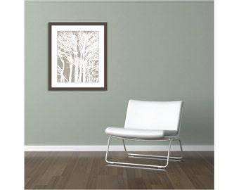 Modern Trees Print - Tree Wall Art - Soft Taupe Brown Neutral Decor - 16x20 Print - Tree Poster - Woodland Decor - Aldari Art