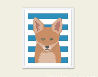Fox Nursery Wall Art Print - Baby Boy Children Art - Woodland Animal - Brown Rust Blue