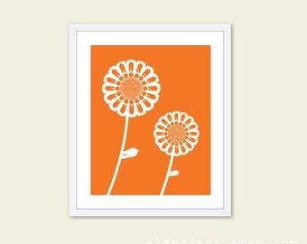 Sunflowers Art Print - Modern Sunflowers Wall Art - Flower Wall Art - Tangerine Orange Flowers - Aldari Art