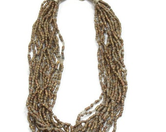 Vintagse Bronze Seed Bead Necklace