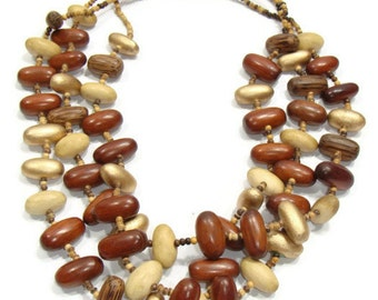 Vintage Triple Strand Wood Bead Necklace