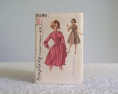 50s 60s dress pattern / Simplicity 5185 full skirt fit & flare dress with fitted bodice and long or short sleeves