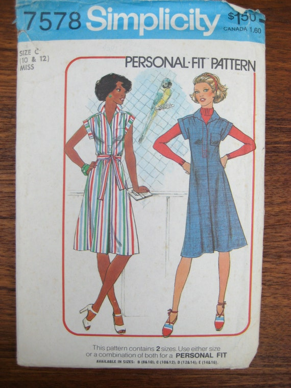 Vintage Sewing Pattern - 1976 Dress Pattern - Simplicity 7578 - Personal Fit Pattern - Belted A-line Dress Pattern  - Button Front Dress