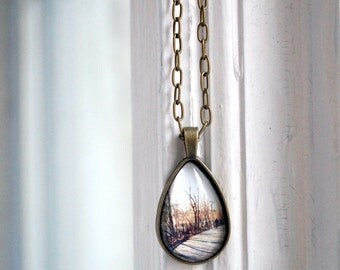 Along Kissena Lake in NYC Photo Jewelry Teardrop Necklace Pendant, Trees Bronze Wearable Art