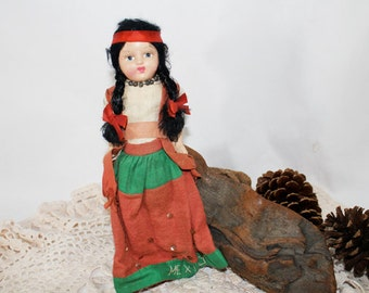 SALE - Vintage Mexican Doll with Bisque Head and Arms