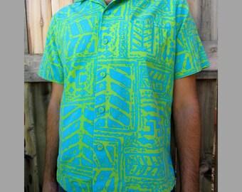 1960s Hawaiian shirt cotton Blue and Green Andrade L
