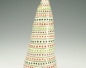 Stripe and Dot Tree Christmas Holiday Decoration Red and Green