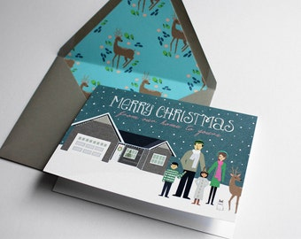 Christmas Cards (with Custom House) : Custom Illustrated