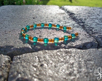 Turquoise and Copper Glass Bracelet