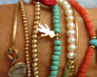 Beaded Bracelets, Pearl Bracelet, Coral Bracelet, Gold Knotted Bangle, Turquoise Charmed Bracelet, Stacking Bracelets,
