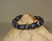 Spanish Knot (Snake Weave) Leather Cord Bracelet with Blue and White Painted Ceramic Beads