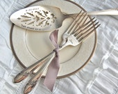 Personalized cake server & forks vintage set... for your wedding, hand stamped, Queen Bess