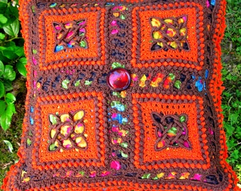 "Handmade 15"" Pillow Cover,Vintage Crocheted Squares, Celtic Knots, Brown and Orange, Vintage Button, Zipper, Floral Cotton Fabric"