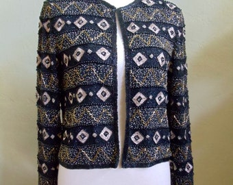 """Vintage Papell Boutique Evening Jacket Embellished with Bugle & Seed Beads Plus Metallic Threads Bust 38""""  Waist 36"""""""