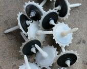 Vintage clock plastic metal gears -- set of 12 -- D18
